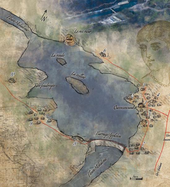 Carte du lac et de ses environs